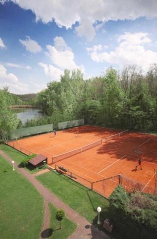 Теннисные площадки, вдали видно озеро